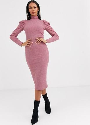 🌺🌺🌺стильное трикотажное женское платье миди в мелкий рубчик asos🌺🌺🌺