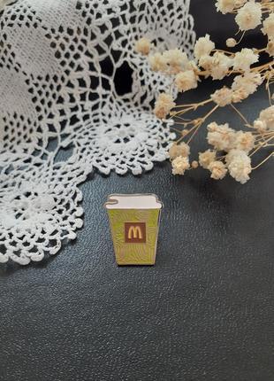 ☕🧁mcdonald's 🍟 значок пин брошь стакан кофе капучино макдональдс винтаж