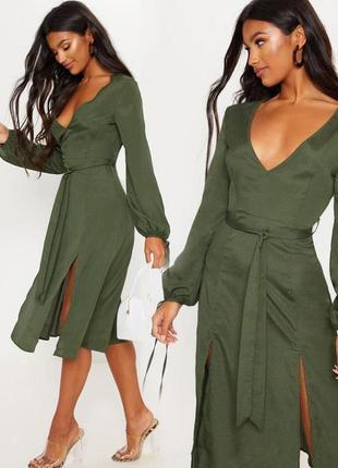 Распродажа платье prettylittlething миди с разрезми с asos