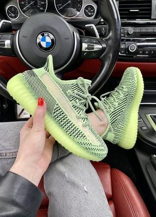 Классные женские кроссовки унисекс adidas yeezy boost 350 салатовые с чёрным 36-45 р