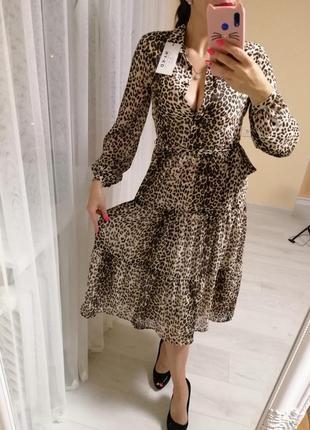 Платье лео принт шифон
