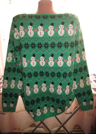 Новорічний светер з сніговиками3