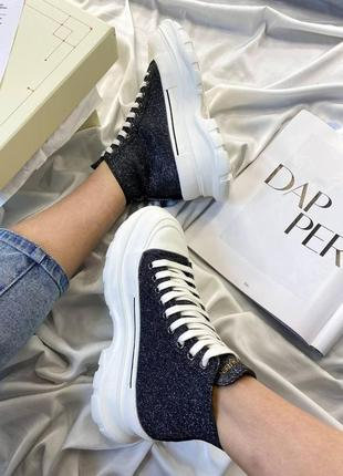 Женские кроссовки alexander mcqueen tread slick glitter  скидка sale | жіночі кросівки
