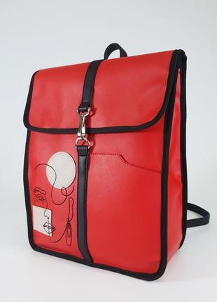Стильный вышитый рюкзак якрий красный городской рюкзак а4
