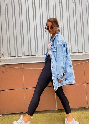 Удлиненная женская джинсовая куртка оверсайз3 фото