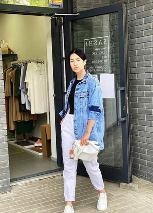 Удлиненная женская джинсовая куртка оверсайз2 фото