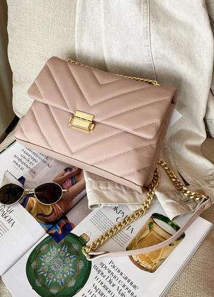 Женская итальянская стильная стеганая пудровая кожаная сумка, италия