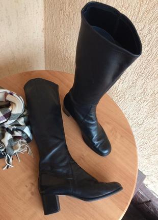Натуральные кожаные итальянские сапоги ботфорты