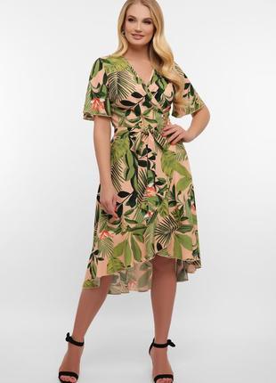 Платье на запах в тропический принт, 3 расцветки, р. xl, xxl, xxxl