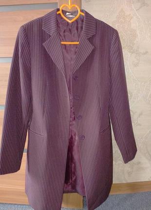 Очень классный длинный пиджак блейзер жакет в мелкую полоску