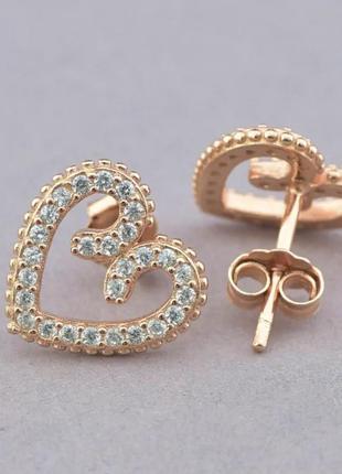 Серьги серебро 925 сердце камни сережки гвоздики