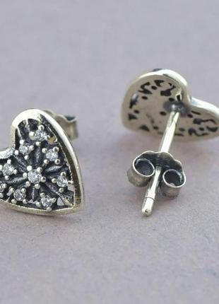 Серьги гвоздики серебро 925 холодное сердце сережки