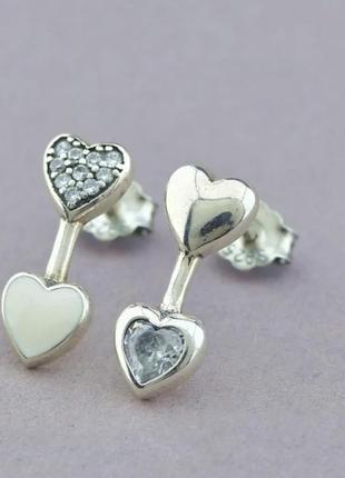 Серьги гвоздики сердца серебро 925 сережки