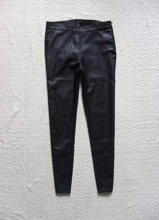 Стильные черные джинсы джеггинсы скинни под кожу h&m, 12 размер