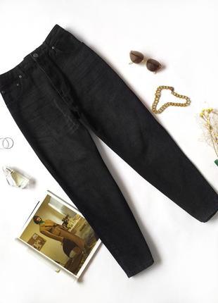 Черные джинсы джинси прямые на высокой посадке укороченные мом mom boohoo