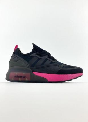 Женские кроссовки adidas zx 2k boost core black shock pink