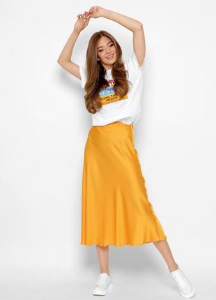 Шелковая юбка-миди в цвете манго