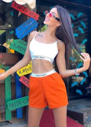 Яркий оранжевый костюм кроп топ и шорты боксерки летний лёгкий