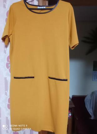 Красивое горчичное платье5 фото