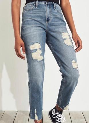 Голубые синие джинсы мом момы с высокой посадкой hollister