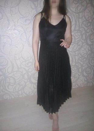 Шикарное нарядное вечернее платье блестящее плиссе юбка