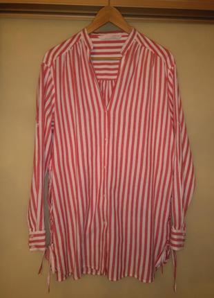 Стильная коттоновая рубашка оверсайз в полоску zara (100% хлопок, рукав-трансформер)