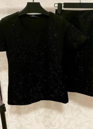 Стильный костюм с юбкой в камнях, люкс качество стамбул.