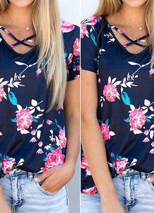 Нарядная футболка блузка блуза в цветочный принт на шикарные формы топ большого размера
