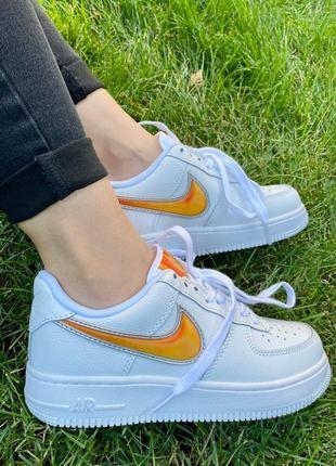 Nk air force 1 mandarin белые кроссовки найк с оранжевым логотипом7 фото