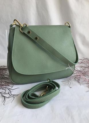Сумка кожаная на длинном ремешке, зелёная, пр-во италия, genuine leather  сумка жіноча шкіряна