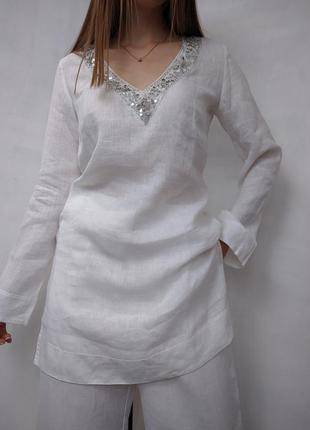 Льняная блуза рубашка туника пляжная вышиванка