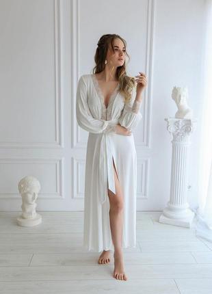 Свадебный халат пеньюар с кружевом, утро невесты