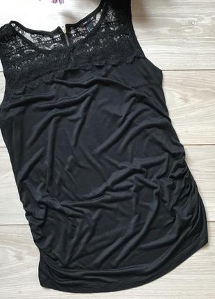 Чёрная майка топ из вискозы с кружевом для беременных