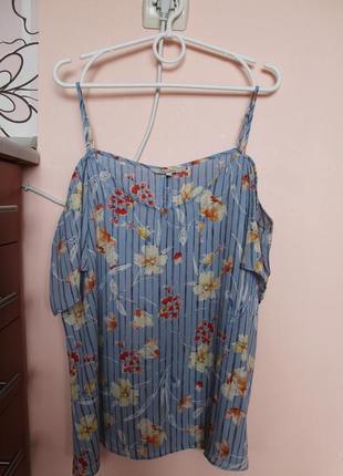 Голубая блуза в красочный цветочный принт, блузка, блуза, майка, маечка 48-50 р.