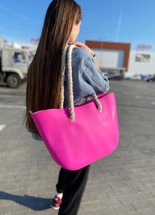 Летняя женская сумка с канатными ручками, пляжная вместительная силиконовая сумка розовая
