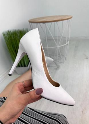 ✨ кожаные белые туфли лодочки