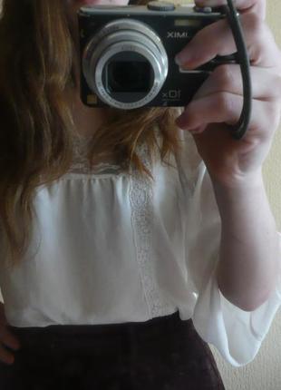 Блуза от topshop цвета слоновой кости с кружевами, полупрозрачная белая бежевая