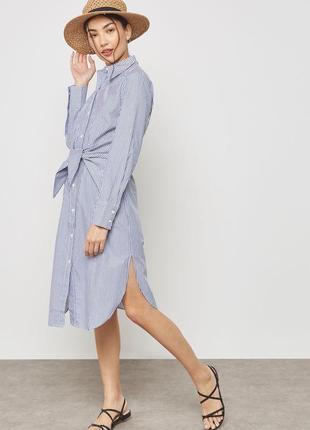 Mango платье рубашка хлопковое в полоску xs