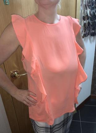 Яркая блуза персиковая майка
