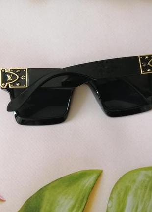 Эксклюзивные брендовые чёрные солнцезащитные очки унисекс millionaire 20215 фото