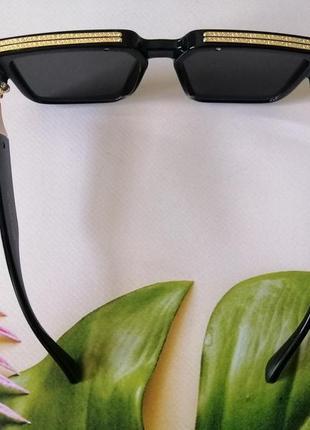 Эксклюзивные брендовые чёрные солнцезащитные очки унисекс millionaire 20217 фото
