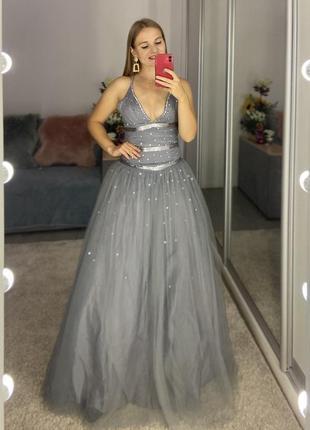 Невероятное фатиновое вечернее платье заниженная талия высокий рост
