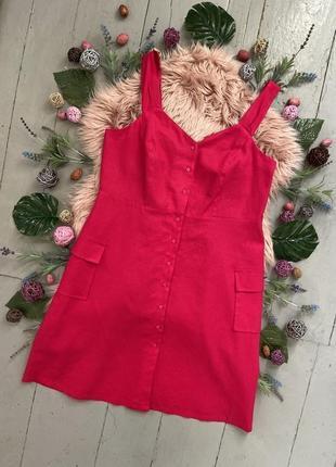 Распродажа!!! актуальное яркое льняное миди платье №427