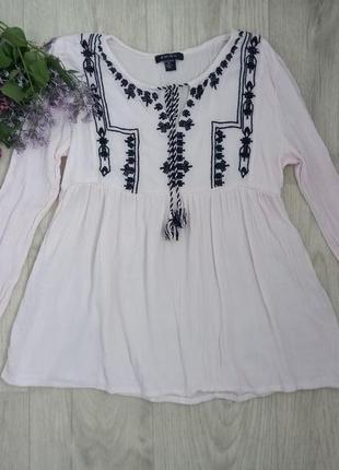 Бледно-розовая  блуза вышыванка amisu, xs/s.