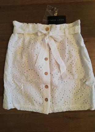 Натуральная белая юбочка от new look