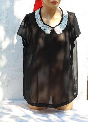 Изумительная шифоновая блуза atmosphere 48-50 c жемчугом