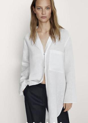 Рубашка льняная длинная оверсайз лён massimo dutti оригинал