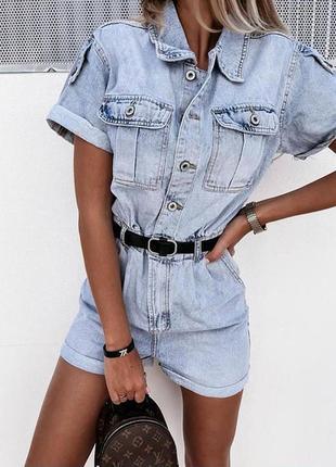 👍жіночий джинсовий комбінезон з шортами🌺
