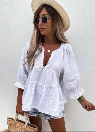 Блуза из льна, 2 цвета, батал