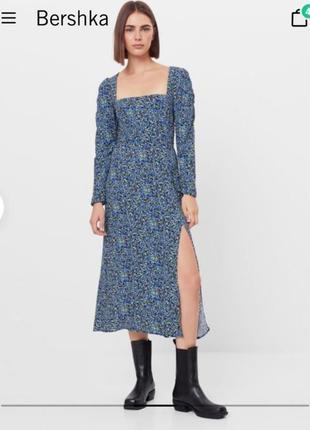 Платье, платье миди, платье с длинным рукавом, платье с цветами, сукня